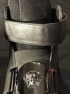 VERSACE MEDUSA BLACK STRAP HIGH TOPS FITS SIZE 43 10 SNEAKERS SHOES AUTHENTIC