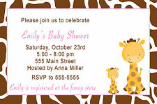 30 Giraffe Invitation Cards Pink Brown Animal Print Baby Girl Shower Invites A1