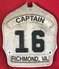 Richmond VA Fire Dept. ENGINE CO 16 CAPTAIN Leather Fire Helmet Front Shield