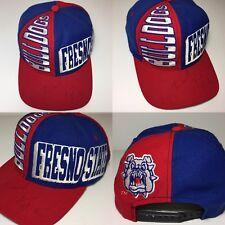 Mens Vintage 90s Fresno State Bulldogs Snapback Hat NCAA script shark splash