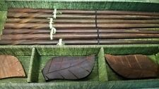 Gift Boxed Chopstick Set  4 Pair-w-Leaf-shaped Rests WOOD CARVED-Green Silk Box