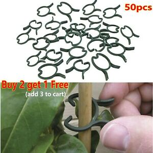 50pcs Reusable Plastic GARDEN PLANT RINGS Cane Stake Climbing Grow Support Clips
