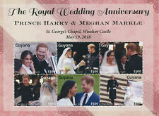More details for guyana 2021 mnh royalty stamps prince harry & meghan royal wedding anniv 6v m/s