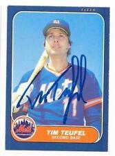 TIM TEUFEL 1986 FLEER UPDATE AUTOGRAPHED SIGNED # U-110 METS