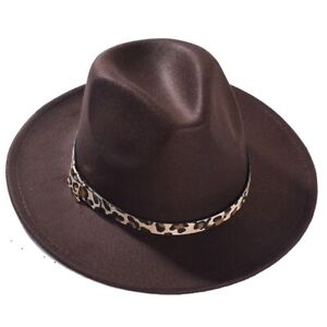 Women Men Felt Wide Brim Fedoras Hat Trilby Jazz Gangster Caps Panama Beach Hat