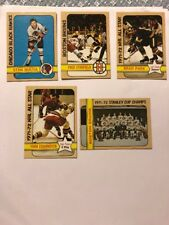 Lot of 5 '72-73 Topps Hockey # 1 Bruins Team, 56 Makita, 135 Stanfield, +2 $drop
