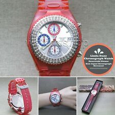 Linda Dano Quartz Wrist Watch Japan SII Chronograph Austria Stones Rubber Band 6