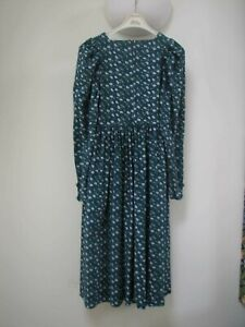 LAURA ASHLEY -- LONG SLEEVE VINTAGE GREEN FLORAL DRESS XS