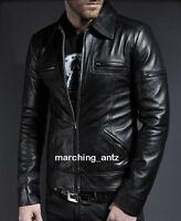 New Soft Lambskin Motorcycle biker Genuine Leather Jacket Cafe Racer Vest 250