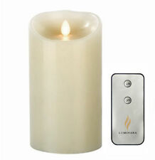 "Luminara Flameless Wax Candle LED Vanilla Scented Ivory Candles 3.5"" x 7""Remote"