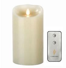 "Luminara Flameless Wax Candle LED Vanilla Scented Ivory Candles 3.5"" x 7""Remote"