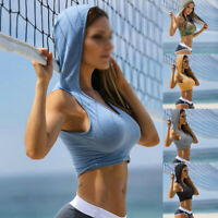 Hooded Crop Top Casual Sleeveless U Neck Tank Top Women Fitness Sports Yoga Tops