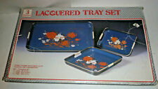 Vintage 3 Piece Black Lacquer Nesting Tray Set Floral Designs Made in Japan