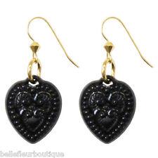 Tarina Tarantino Starlet Lamour Black Lucite Heart Earrings *Made in California*
