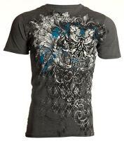 Archaic AFFLICTION Mens T-Shirt QUILTED Skulls Tattoo Biker MMA M-4XL $40 a
