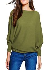New Ladies ¾ Sleeves Oversized Ribbed Knitted Loose Batwing Jumper Baggy UK Top
