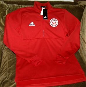 Canada Ice Hockey 1/4 zip fleece jacket Adidas men's MEDIUM NEW With TAGS RED