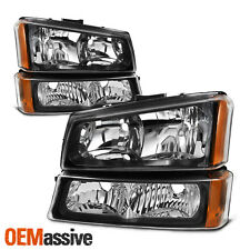 Fit 2003-2006 Silverado Avalanche Black Headlights + Bumper Signal Lights LH+RH