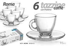 SET 12 PEZZI 6 TAZZINE ROMA CAFFè 6 PIATTI VETRO TRASPARENTE 95CC BAR ACF 602306