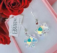 EARRINGS WITH SWAROVSKI ELEMENTS SNOWFLAKE CRYSTAL AB 20mm STERLING SILVER 925