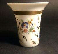 Petit Vase  Ou Gobelet En Porcelaine De Limoges Decor Floral Rehaussé A L'or Fin