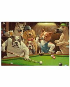 Dogs playing pool Horizontal Poster Wall Decor Poster (no frame)