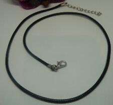 Lederhalsband 2mm 44 - 49cm schwarz Verschluss silber SaWi Lederband Lederkette