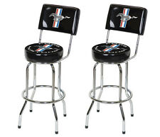 Mustang Running Horse Tribar Chrome Black Bar Stools Set with Back Rest - Pair
