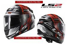 CASCO MOTO INTEGRALE LS2 FF320 STREAM BANG NERO ROSSO TG. L DOPPIA VISIERA