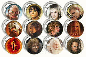"""Lord of the Rings Buttons Pins 2.25"""", Party Favor Metal Pin-back - 12 pcs Gollum"""