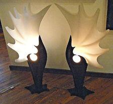 """Vtg 1980s Regency Modern 36"""" Tall Pair Roger Rougier Lamps Black White Acrylic"""