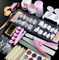 Professional Nail Art Acrylic Powder Liquid Primer Tips Practice Tool Full Kit