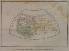 1840 CIRCA MAPPAMONDO SECONDO STRABONIO COLORATA MONDO