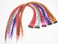 4 X Colored Feather Print Clip on in Hair Extensions Beauty Salon Wholesale Lot