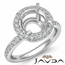 Round Cut Diamond Engagement Semi Mount Ring 18k White Gold Halo Setting 0.53Ct.