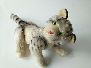 Steiff Tabby Cat Kitty Mohair Plush 17 cm 7 in Jointed 1960s Vintage
