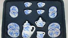 Timeless Minis Dollhouse Miniature 17 Piece Ceramic Tea Set - White / Blue