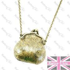 HANGBAG purse NECKLACE pendant 90cm LONG CHAIN NECKLACE locket ANTIQUE BRASS PLT