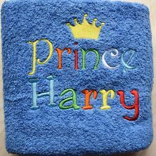 Personalised  Blue Swim towel Bath Towel, Embroidered Prince Towel kids gift
