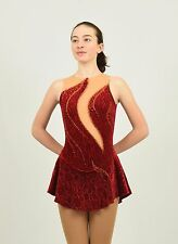 Ice Skating Figure Skating Flame Tank Dress size Xsmall adult red stretch velvet