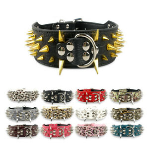 Spiked Studded Dog Collar Large Dogs Pit Bull Rottweiler Training Collar S-XL