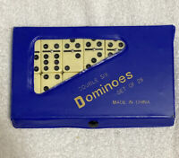 Vintage Double Six Dominoes 28 ct. Used Spinners Vinyl Case Great Condition