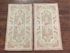 (2) 1X2 Hand-Hooked Area Rugs Set Small (1.1x2.2) Oriental Wool Carpet Lot Pair