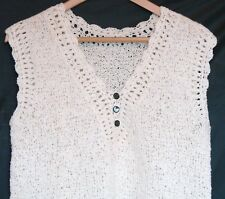 Vintage Hand Crocheted Sleeveless Sweater VEST Top Size M L Women's Cream