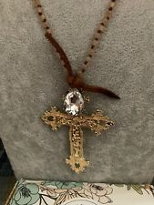 Plunder Design Fashion Trendy Vintage Jewelry Beaded Chain Cross Necklace