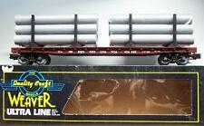 New ListingWeaver O Scale Ultra Line 50' Flat Car Prr Pennsylvania 3 Rail With Pipe Load