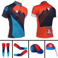 Mens Cycling Jersey Bicycle Cycling Cap Hat Arm Sleeve Leg Warmers Bandana Shirt
