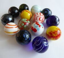 Vintage Marble Shooters - Rare Glass Marbles Cobalt Speckled Swirled (lot of 14)