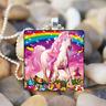 unicorn Butterfly Rainbow Art Cabochon Glass Silver Tile Chain Pendant Necklace