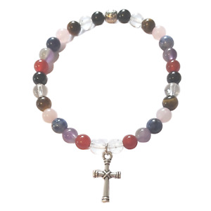 Cross Gemstone Chakra Beaded Crystal Bracelet with 6mm beads Cross Charm & Pouch